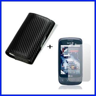 Premium LG Optimus S Carbon Fiber Belt Clip Case with Screen Protector