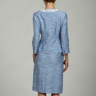 Kasper Womens Beaded Jewel Neck Tweed Skirt Suit