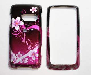Purple Heart Snap on Hard Skin Shell Cover Case for LG Rumor Touch