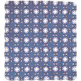 Blue Double Wedding Ring King size Quilt