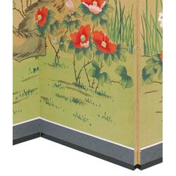 Wood and Silk 6 foot Birds and Flowers Screen (China)