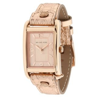 Michael Kors Womens Embossed Leather Strap Watch