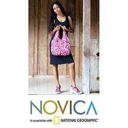 Cotton Pink Wilderness Large Hobo Shoulder Bag (Indonesia