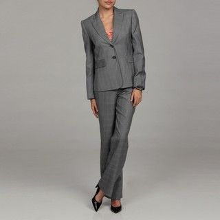 Tahari Womens Grey Three button Plaid Pant Suit