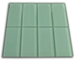 Frosted Sage Green Glass Subway Tile 1 sq.ft. (Eight 3 x 6 Tiles