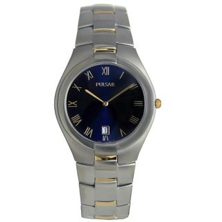 Pulsar Mens Dress Stainless Steel Dark Blue Dial Watch