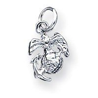 Sterling Silver Small Childrens Marine Corps Emblem Charm