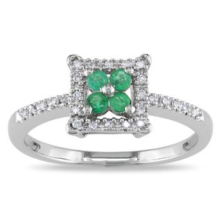Miadora 14k White Gold Emerald and Diamond Cluster Ring (G H, I1 I2