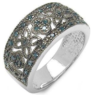Sterling Silver 1/4ct TDW Blue Diamond Flower Ring