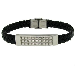 Moise Silvertone Mens Black Leather Bracelet