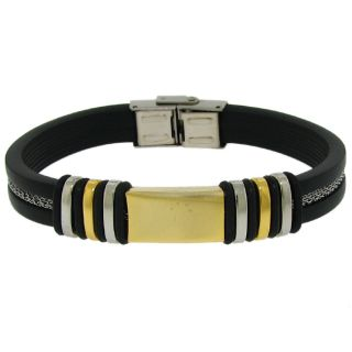 Moise Stainless Steel Mens Black Rubber Bracelet