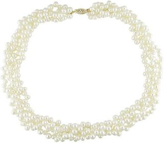 14k Gold 4 strand Freshwater White Pearl Necklace (4 5 mm)
