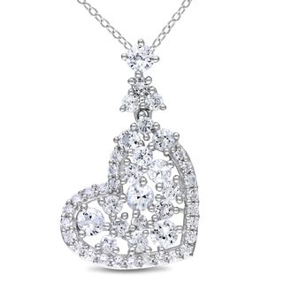 Miadora Sterling Silver White Sapphire Heart Necklace