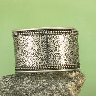 Handcrafted Wide Silver Plated Brass Etched Vines Cuff Bracelet (India