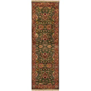 Hand knotted Finial Dark Forest Green Wool Rug (26 x 8)