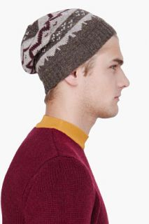 A.P.C. Olive Knit Merino Wool Beanie for men