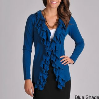 Grace Elements Womens V neck Cascade Ruffle Sweater Cardigan