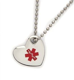 Medical Alert ID Stainless Heart Pendant Necklace Health