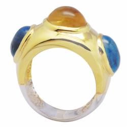 De Buman 18k Gold and Sterling Silver Citrine and Blue Topaz Ring