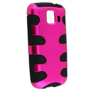 Hot Pink/ Black Fishbone Snap on Case for LG Optimus S LS670
