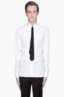 KRISVANASSCHE White Black Tie Poplin Shirt for men