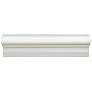 SomerTile 2x8 inch Travessa Biselada Blanco Ceramic Moldura Trim Tile