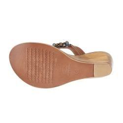 Matisse Persia Tan Leather Slip on Wedge Sandals