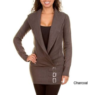 Stanzino Womens Long Sleeve Shawl Collared Sweater with Buckle