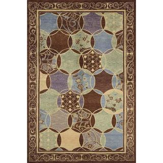 Hand knotted Lotus Multi color Geometric Wool Rug (56 x 86