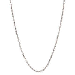 Roberto Martinez 14k White Gold Diamond cut Rope Chain Necklace (1.5