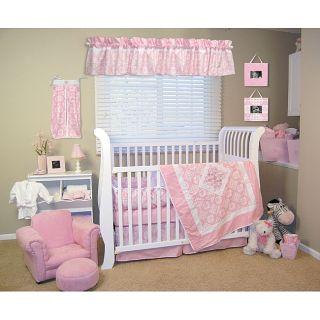 Trend Lab Versailles Pink and White 4 piece Crib Bedding Set