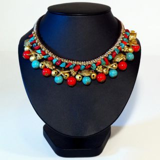 Brasstone Turquoise and Red Coral Bead Necklace (Thailand) Today $26