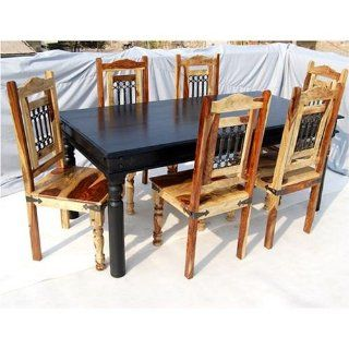 7pc Rustic Solid Wood Dining Table Chairs Room Furniture