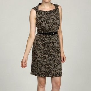 Emma & Michele Womens Mocha/ Black Animal Print Dress