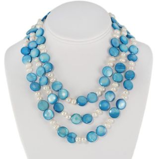 Maddy Emerson Freshwater Blue and White Pearl Necklace (7 13 mm