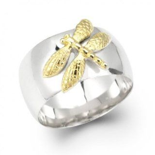 Bling Jewelry Sterling Silver Two Tone Dragonfly Ring