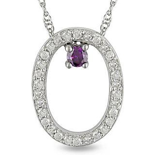 Miadora 10k White Gold 1/6ct Pink and White Diamond Oval Necklace (H I