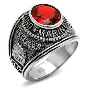 MILITARY RING   Stainless Steel United States Marine Mens