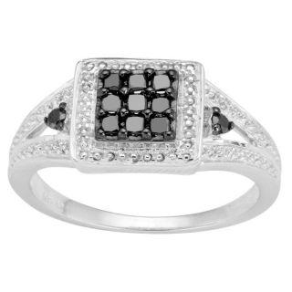 Sterling Silver 1/4ct TDW Black Diamond Pave Design Ring