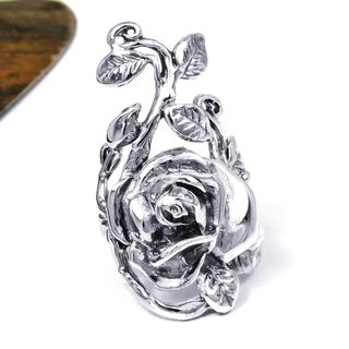 Sterling Silver Big Rose Flower Leaf Vine Ring (Thailand)