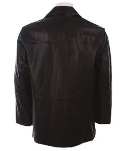 Kenneth Cole Mens Black Leather Car Coat