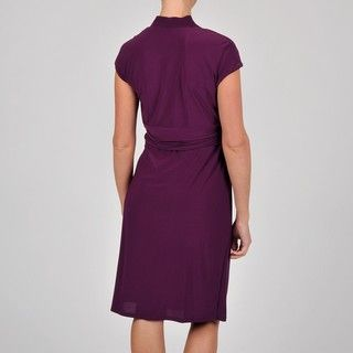 iana B Womens Wine Solid Jersey Kni Dress