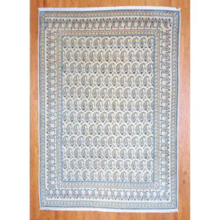 Antique Persian Hand knotted 1930s Kashan Ivory/ Light Blue Wool Rug