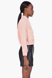 See by Chloé Pink Silk Crepe Henley Blouse for women