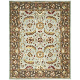Handmade Heritage Blue/ Brown Wool Rug (5 x 8)