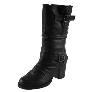 Dreams by Beston Womens Kina Black Mid calf Motorcycle Boots