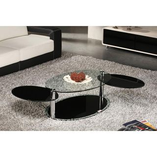 Contoured Oval Panel Coffee Table with Glass Top