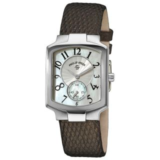Philip Stein Womens Classic Metallic Brown Leather Strap Watch