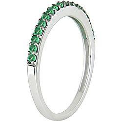 10k White Gold Emerald Semi Eternity Ring