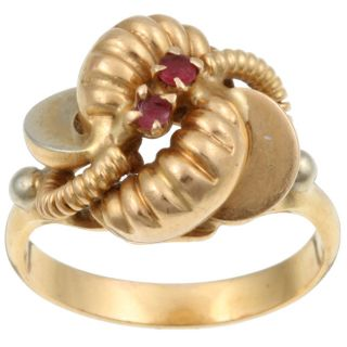 14k Yellow Gold Created Ruby Knotted Estate Ring (Size 9)